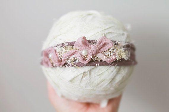 JERSEY COLLECTION ~ Newborn Headband, Newborn Tieback, Newborn Flower Crown, Newborn Halo, Organic Photography Props, Stretch Jersey, Purple