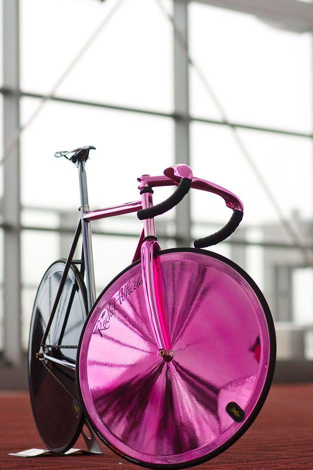 Czech bike maker Festka Carbon fiber bicycle in pink to black chrome finish.