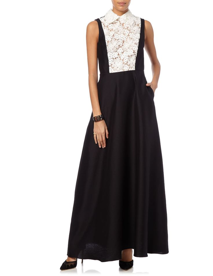 Black Ottoman Lace Bib Gown | MacGraw | Avenue32
