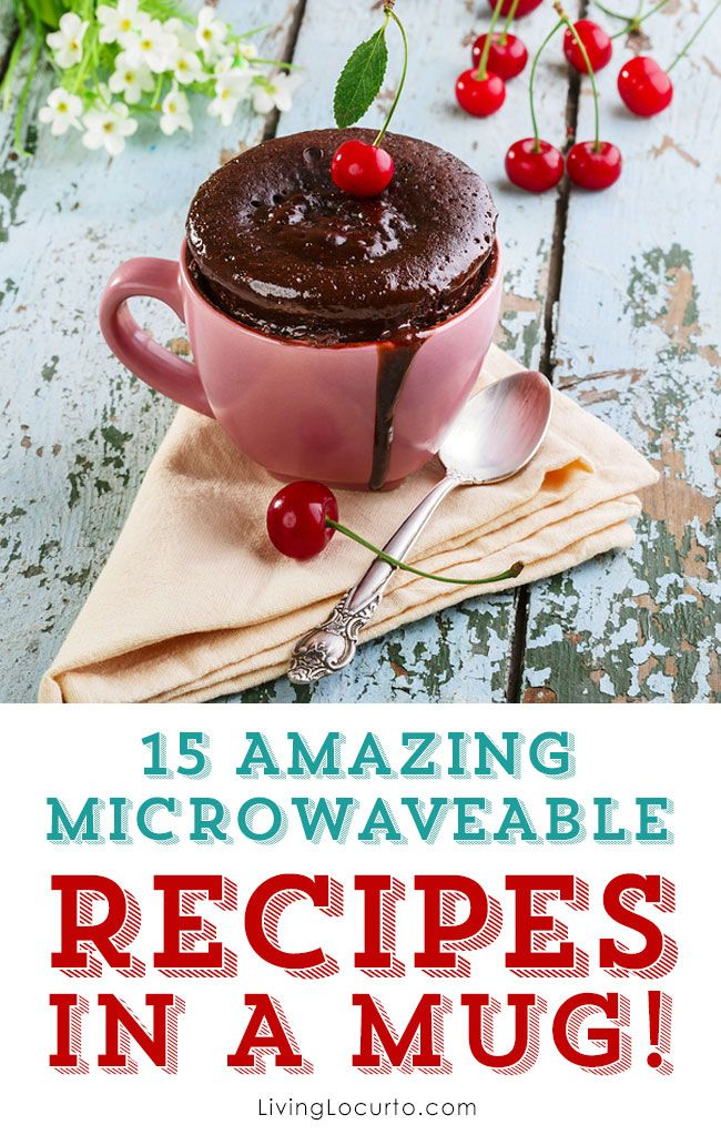 Recipes in a mug are perfect to cook in the microwave to be ready to eat in minutes. All you need is a mug and a microwave! Find breakfast, dinners and dessert recipe ideas in a mug. Enjoy these delicious recipes.: