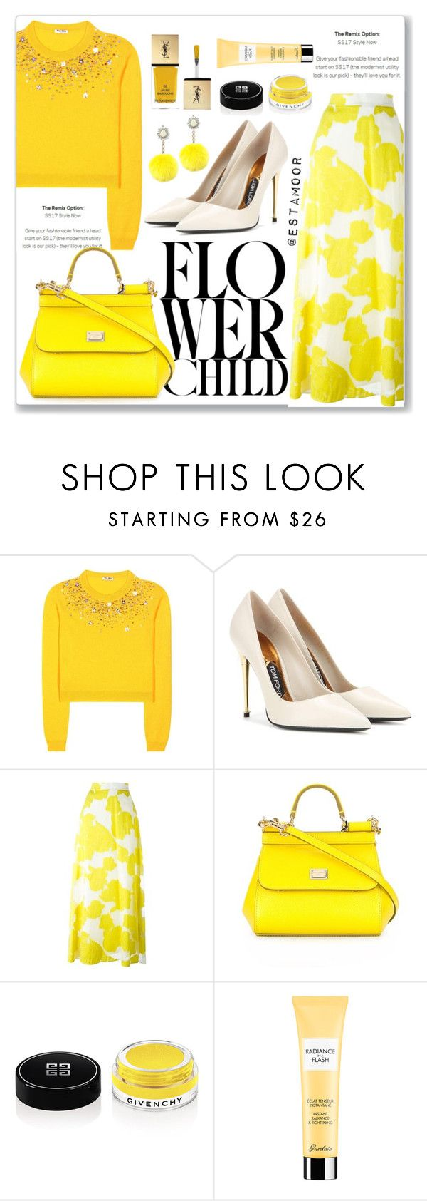 """""""yellow"""" by estamoor on Polyvore featuring мода, Miu Miu, Tom Ford, P.A.R.O.S.H., Dolce&Gabbana, Givenchy, Guerlain и Rock 'N Rose"""