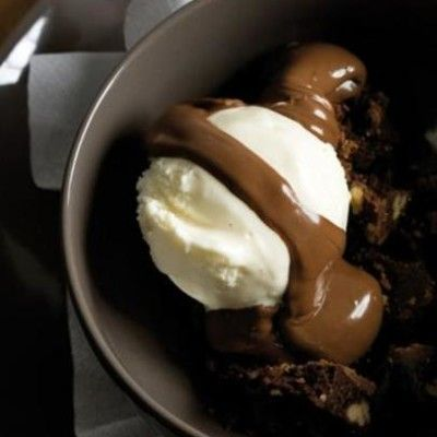 Taste Mag | French vanilla ice cream with chunky chocolate brownie sauce @ http://taste.co.za/recipes/french-vanilla-ice-cream-with-chunky-chocolate-brownie-sauce/