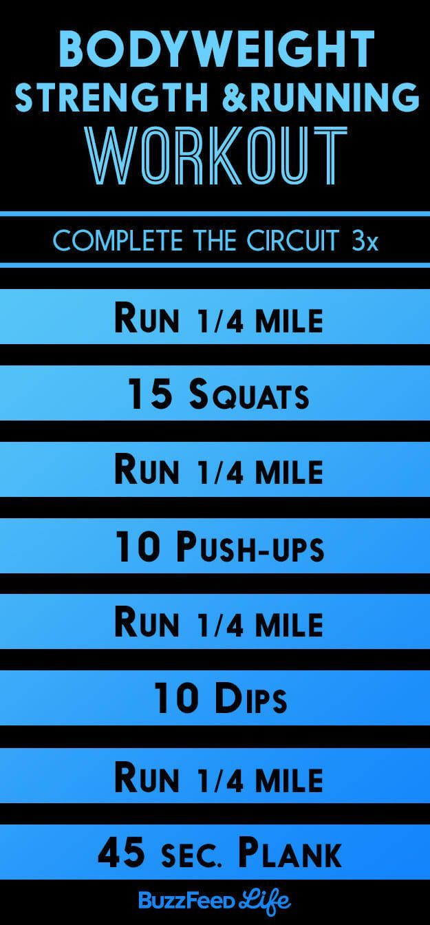 'The circuit workout below uses bodyweight exercises in between running intervals to challenge your muscles, heart, and lungs.'—Jason Fitzgerald, 2:39 marathoner and founder of Strength RunningHow to do it:Warm up with 10 minutes of easy running. Then complete the circuit one to three times resting only as much as necessary. Substitute other movements depending on what kind of space and equipment you have available. Other movements to swap in: walking lunges, squat jumps, box jumps, mountain