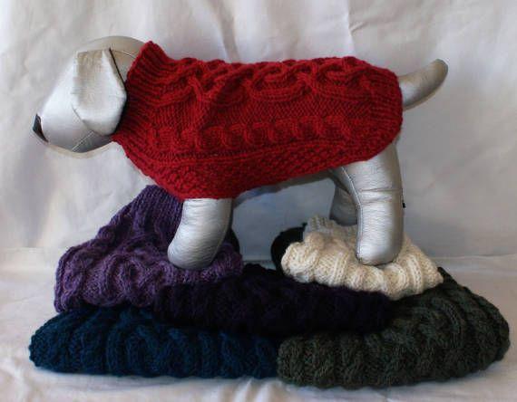 Aran Dog Sweaters/ Jumper in Alpaca/wool mix by IrishSmallKnits