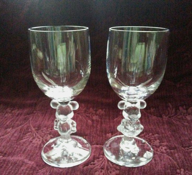 Mickey & Minnie Mouse Crystal Clear Goblets By Walt Disney Co. - U.s.