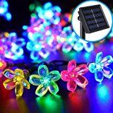 Solar Flower String Lights for Outdoor Use (30 LED) - Best Decorative Outside Party Lighting for Patio, Fence, Backyard, Lawn or Garden - Colorful Hanging Blossoms Powered by Sun (Multi Color)
