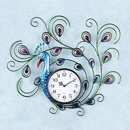 Crystal Peacock Metal Wall Clock  #Clock #Crystal #dimensionalbody #gorgeouscolors #Metal #Peacock #peacockclock #RusticWallClock #stunningaddition #Wall The Rustic Clock