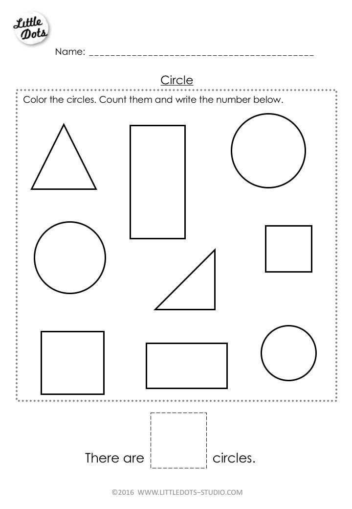 Free Pre-K circle shape worksheet. Learn to recognise and count the circle shapes.