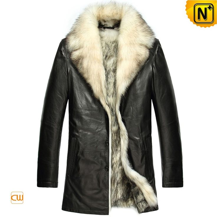 Men's Fur Lined Lambskin Coat CW855418 Warm mens fur coat crafted from lambskin leather shell and thick real wolf fur lined keep you looking and feeling amazing though the coldest of winter. Black leather jacket with fur lining designed in notched collar with wolf fur trim and side pockets. www.cwmalls.com PayPal Available (Price: $1557.89) Email:sales@cwmalls.com