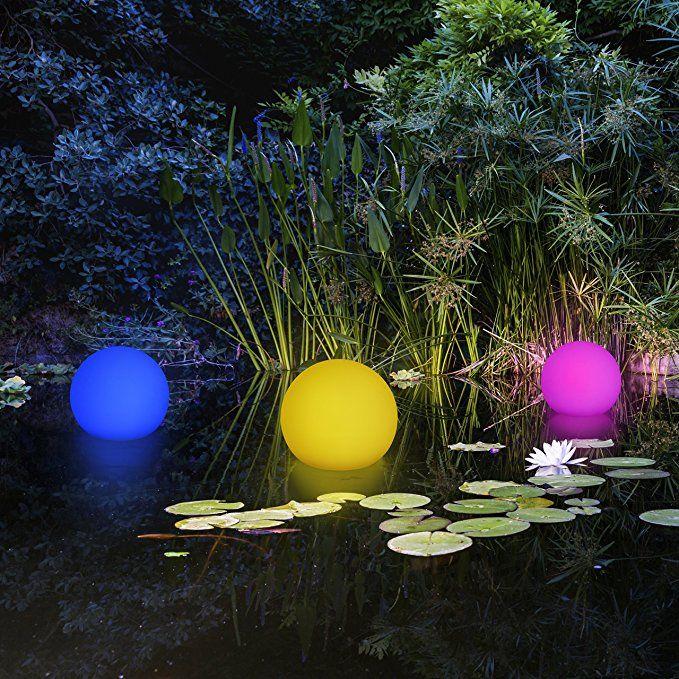 2 In 1 Schwimmkugel Gartenleuchte Kugel Mit Led Beleuchtung Kabellos Solar Schwimmfahig 8 Farbe Solarlampen Garten Solarleuchten Solarleuchten Garten