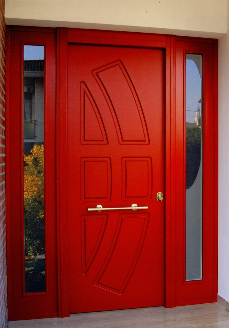 Wonderful Red Security Front Door With Strong Sidelights
