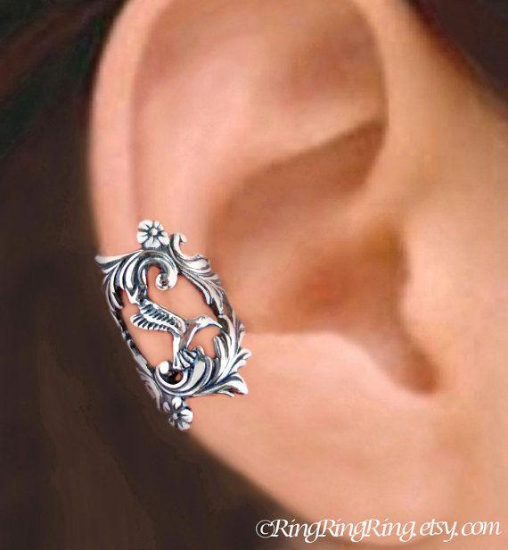 Hummingbird ear cuff Sterling Silver earrings por RingRingRing