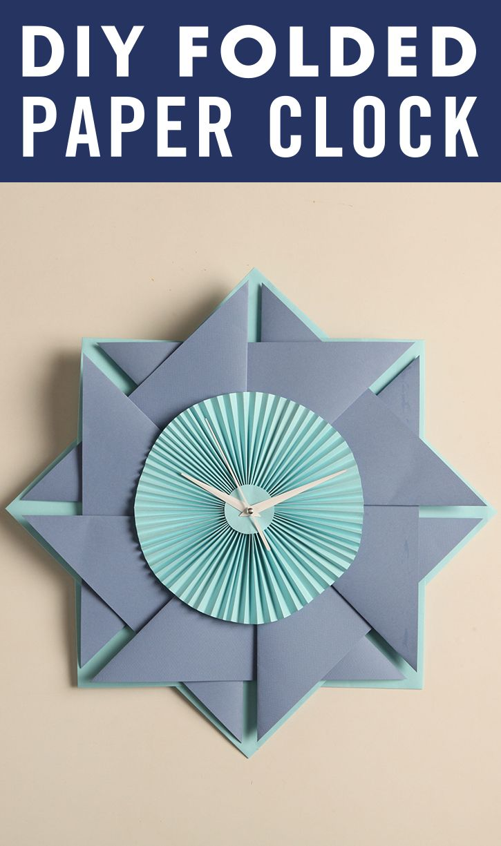 Put a whole new spin on telling time with a DIY folded paper clock. Start by folding different sizes of colored craft paper to create a variety of shapes. When you have enough shapes, arrange and glue them together to assemble the clock. After your glue's all dry, attach the clock movement to get it ticking. Finally, hang it on the nearest wall, so you'll always know where the hour and minute hands are. Find more crafting inspiration and step-by-step DIYs over at MrsMeyers.com.