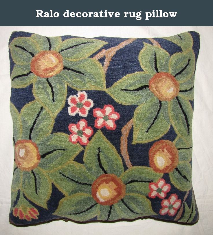 Ralo decorative rug pillow. Flowers & fruits, navy blue, Unique rug pillow used meditation or decoration, 100% Tibetan wool, organic cotton backing brass fasteners, removable down feather pillow insert.