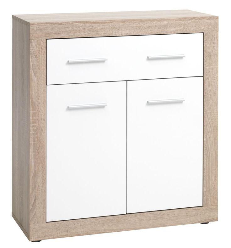 Comoda FAVRBO cu doua usi si un sertar, realizata din melamină albă și stejar, are un design modern si se potriveste cu usurinta spatiilor contemporane.   JYSK