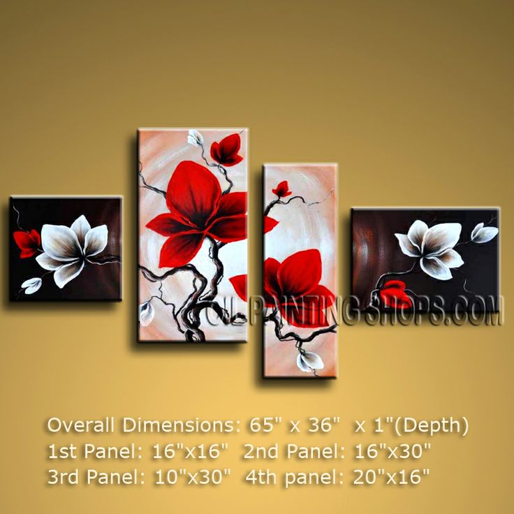 4 Pieces Contemporary Wall Art Floral Painting Tulip Flower On ...