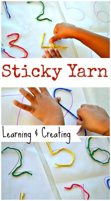 Easy preschool fine motor activity: Learn and create with sticky yarn! #mathactivities #finemotoractivities