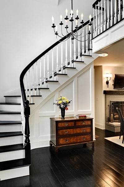 stairs, black treads, black rail, black floors, white walls, curve to staircase - - -yes, yes, yes
