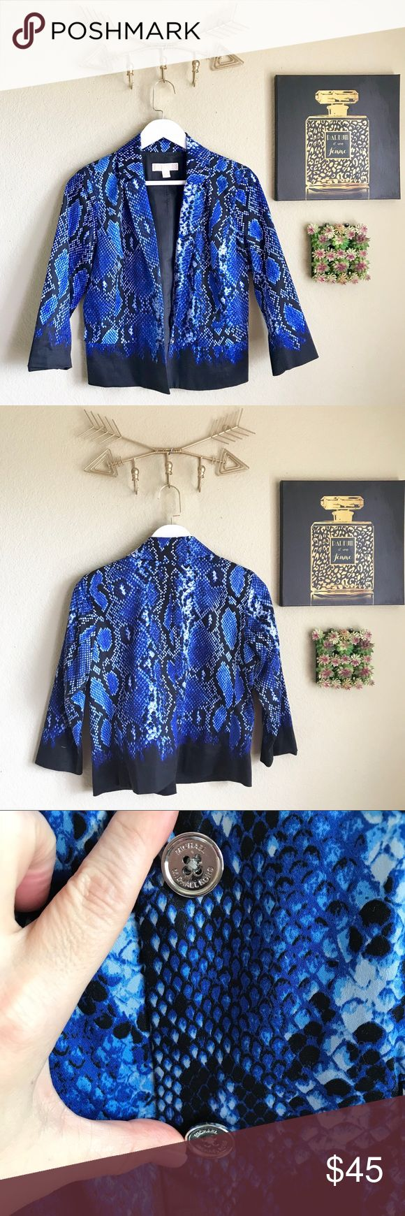 """Michael Kors Snake Blue Ombre Blazer Michael Kors Snake Blue Ombre Blazer Waist length Two button Size 2 Cotton/spandex 19"""" bust 22"""" long  Matching shirt sold separately.   thank you for looking and please check out the rest of my closet. MICHAEL Michael Kors Jackets & Coats Blazers"""