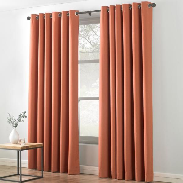 Pin By Rachel Lee On Blinds Curtains Orange Curtains Burnt