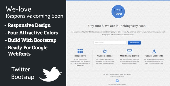 We-love : Responsive Coming Soon Template - ThemeForest Item for Sale