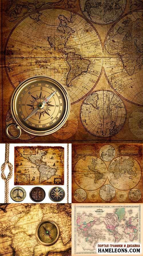 Старинные географические карты, морской узел и компасы - Растровый клипарт   Old maps