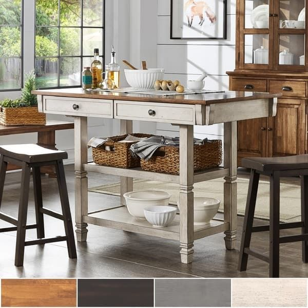 Elena Two-Tone Antique Kitchen Island Buffet by iNSPIRE Q ...