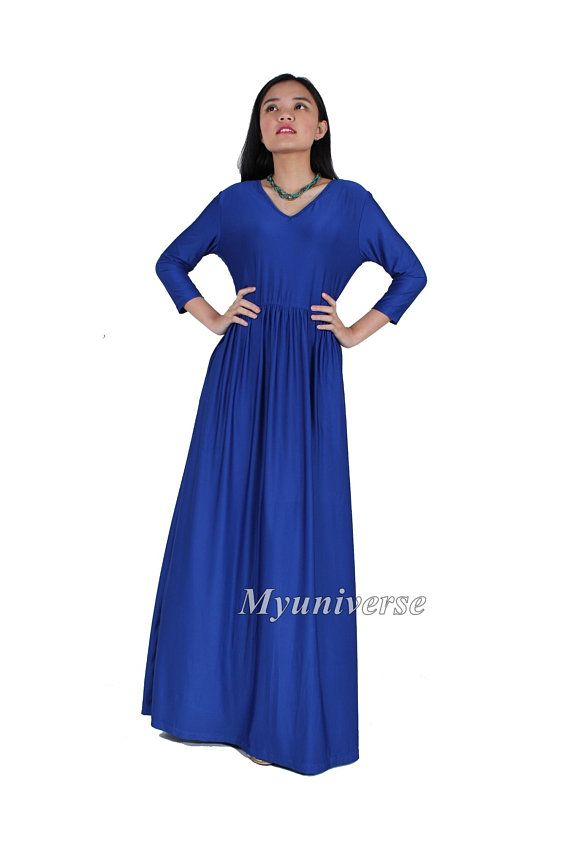 Royal Blue Maxi Summer Dresses with Sleeves