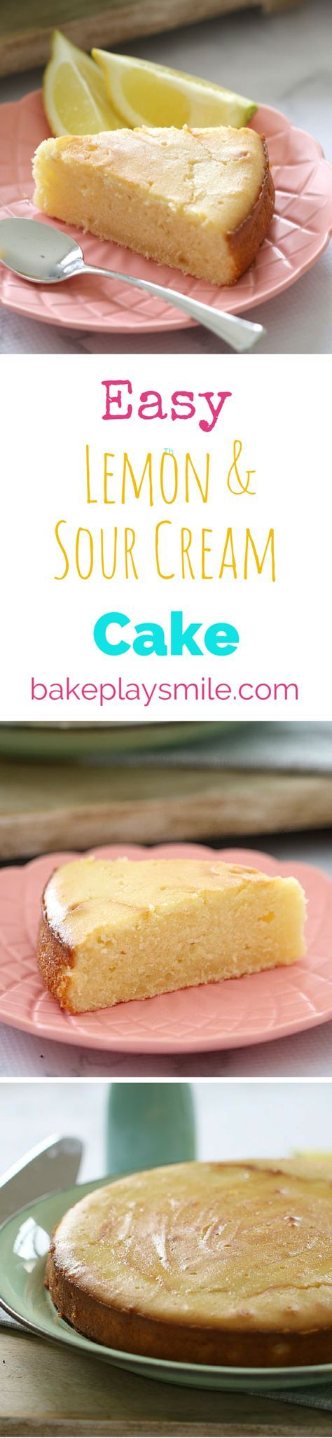 The BEST and EASIEST Lemon & Sour Cream Cake you'll ever make. Pus the lemon drizzle keeps it so deliciously moist. | Bake Play Smile