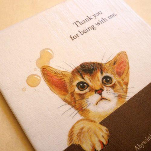 アビシニアン コースター(3枚セット) | 猫汕雑貨店    表面は撥水コーティング加工をしています。  お手入れの際は、絞った布で軽く拭いてください。  *水洗いや漬け置きはお避けください。  *ひとつひとつ、手作りで作っておりますので   製品には微細な違いがあります。   ご了承いただける方のみ、ご注文をお願いいたします。