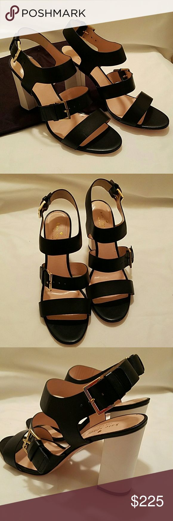 NIB Kate Spade leather sandals Sexy, black and white, Kate Spade leather heels with gold adjustable buckles. Original cloth bag included. Never worn.  Sorry, but I can't find the lid to the box! kate spade Shoes Heels