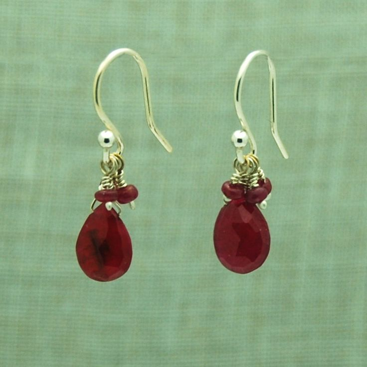 Ruby Drop Earrings with Ruby Cluster