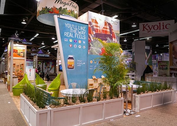 Mega foods 39 island exhibit at npew 2016 natural products expo west show 2016 pinterest - Food booth ideas ...