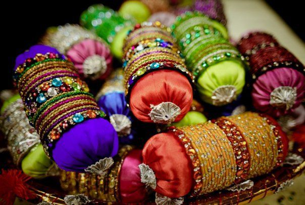 Bangles on small cushions - gifts for mehendi attendees?