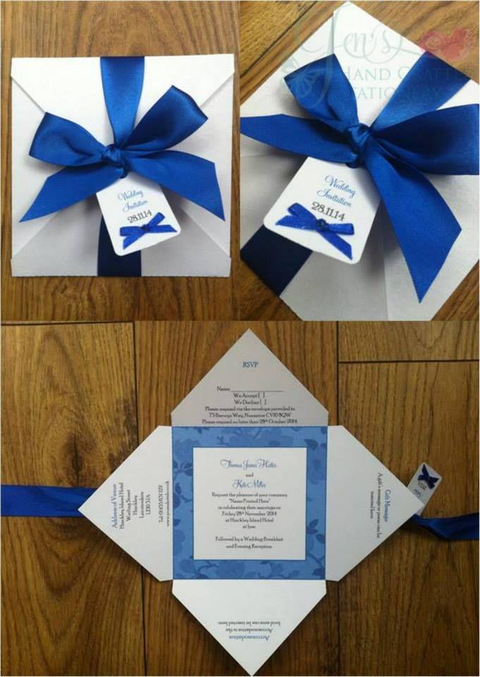 Royal blue bow Fold Over Wedding Invitation www.jenshandcraftedstationery.co.uk www.facebook.com/jenshandcraftedstationery