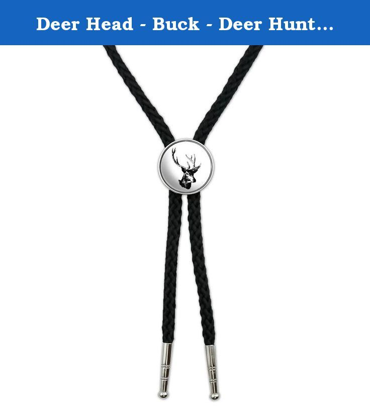 "Deer Head - Buck - Deer Hunting Western Southwest Cowboy Necktie Bow Bolo Tie. Put your own spin on this classic Southwestern accessory with one of our unique bolo ties! The braided cord is soft and durable, while the weighted silver-tone metal tips are elegant and modern in their simplicity. The slide features the printed, urethane-encased graphic (as shown) on a sturdy metal base. The image is approximately 1.0"" (2.5cm) in diameter and the cord is approximately 3.0' (0.9m) in length."