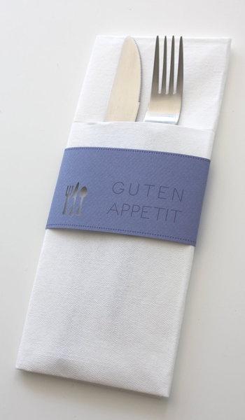 Wunderschöne Bestecktaschen mit Papierbanderole, für eine gelungene Tischdekoration.    Weitere wunderschöne Ideen auch unter www.creartivbox.de.