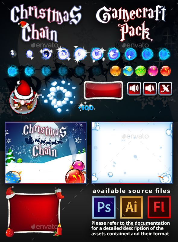Christmas Chain Game Assets — Photoshop PSD #buttons #game assets • Available here → https://graphicriver.net/item/christmas-chain-game-assets/13542327?ref=pxcr