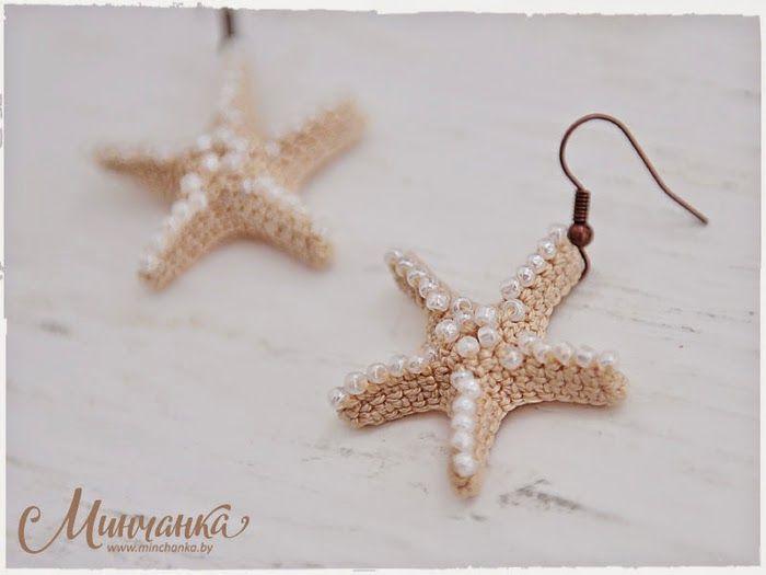 crochelinhasagulhas: Brinco estrela do mar em crochê