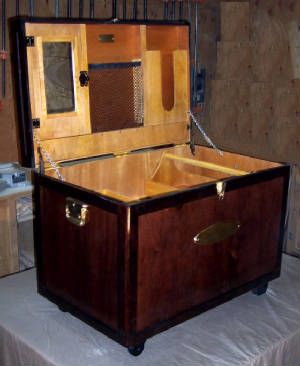 Tack Trunk, light inside, Two tone cherry wood outside, brass accents