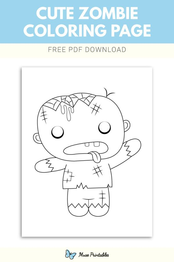 Free Cute Zombie Coloring Page Cute Zombie Coloring Pages Color