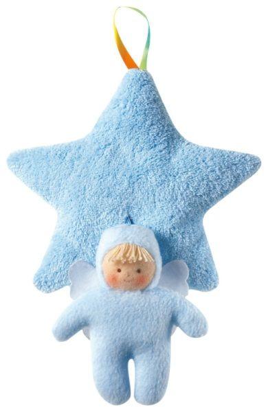 Tirez sur le petit ange bleu pour déclencher la douce mélodie et faciliter le sommeil de bébé!  Trousselier-Peluche Musicale Etoile et Ange Bleu