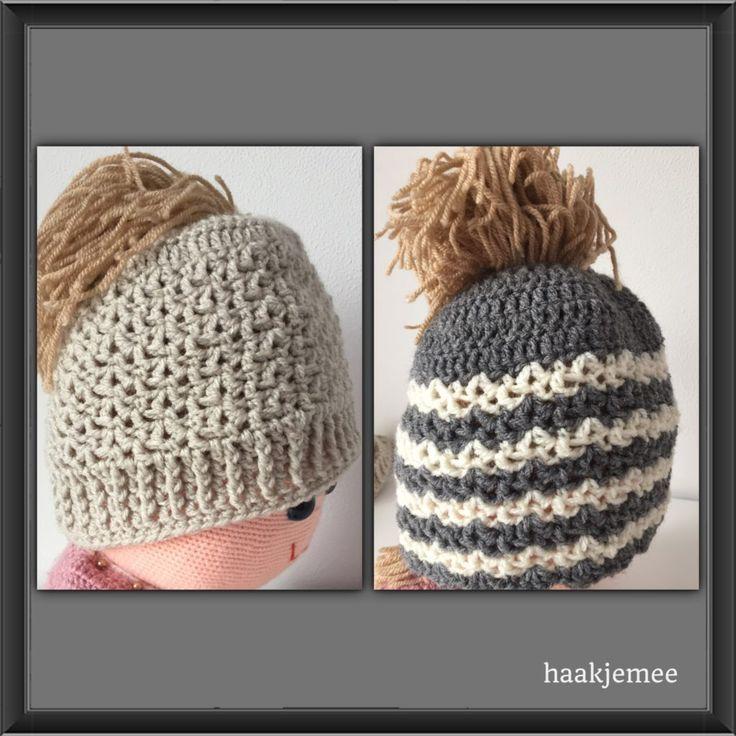 Dutch Messy Bun Beanie free crochet pattern | Jump on board the bun hat trend with this crochet hat pattern