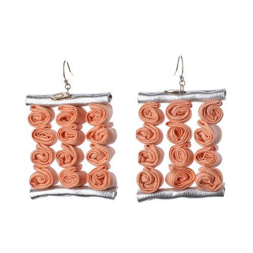 https://www.cityblis.com/7068/item/5739  Blushing blossom earring - $69 by DORIDEA  A very special Houte Couture piece of the DORIDEA 2013SS collection, inspired by the beloved flower of the designer, combined with fresh colours of the season. Each little shining roll is carefully handmade and combined with the soft leather parts, ends in 14k gold-filled hook and the little DORIDEA...