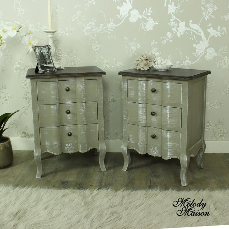 Furniture Bundle, Pair of 3 Grey Drawer Bedside Chests - French Grey Range A pair of three drawer bedside chest finished in sophisticated French grey with dark wood top Incredibly stylish and practical, these bedside chests will make a great storage solution for your bedroom There is ornate engraved detailing below the drawer giving a vintage look Other items are available in the range suitable for any home