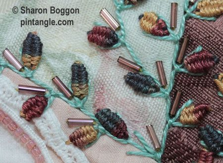 Up and Down Feathered Buttonhole sample for stitch dictionary