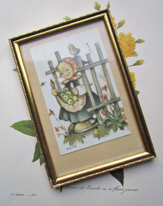 32.20 kr. Vintage Framed Garden Hummel Print by bedouin on Etsy