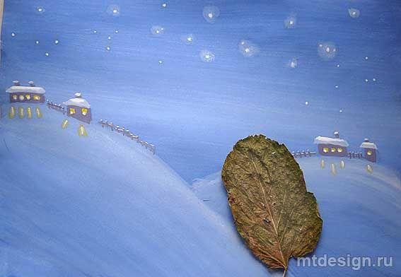 Как нарисовать зимний пейзаж гуашью. Отпечатки листьями. Урок детям   MTdesign