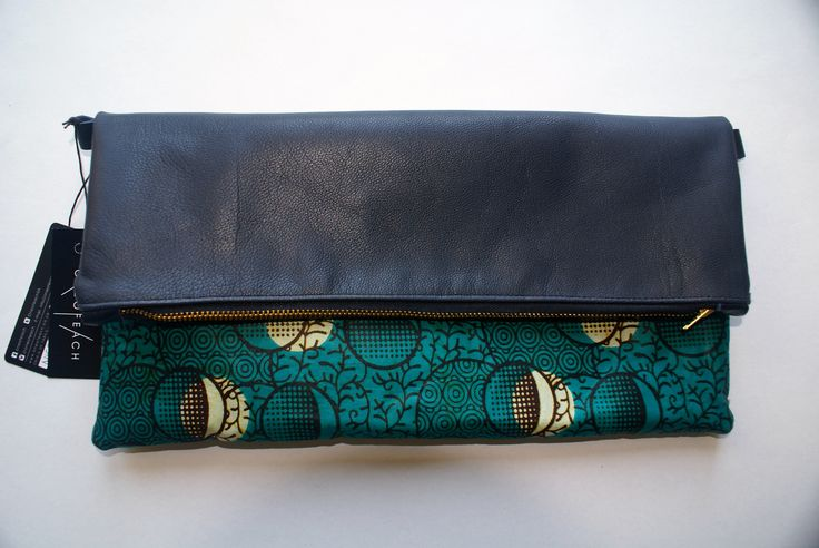OneOfEach African waxed fabric and leather clutch bag (reversed)