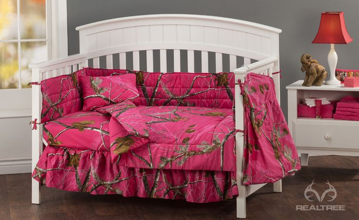 Realtree APC™ Fuchsia Crib Bedding Collection Showcases The Realistic Branches, Leaves And Pine